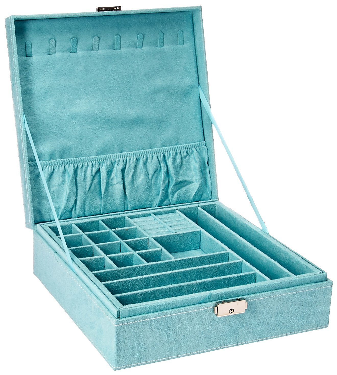 KLOUD City Two-Layer lint Jewelry Box Organizer Display Storage case with Lock (Blue) by KLOUD City