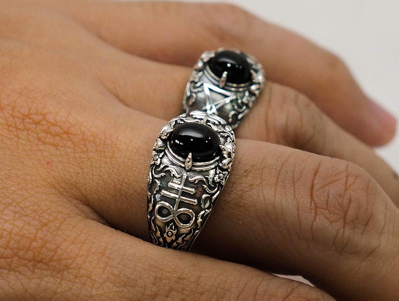 Brimstone Leviathan Cross Satanic Devil Lucifer Ring 925 Sterling Silver Satanic Cross Onyx Ring