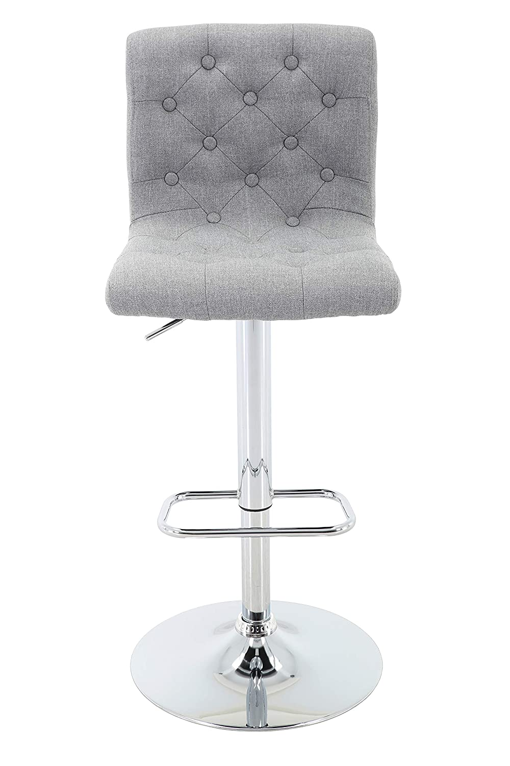 Brage Living Adjustable Height Tufted Upholstered Barstool with Footrest, Light Grey