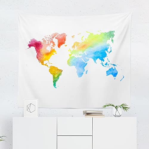 Amazon Com Watercolor Rainbow World Map Tapestry Globe Maps