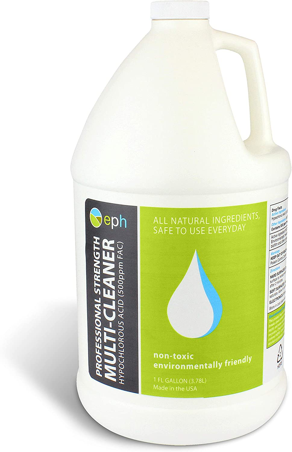 Hypochlorous Acid 500PPM Professional Grade Cleaner (One Gallon), All Natural HOCL Surface Cleaner