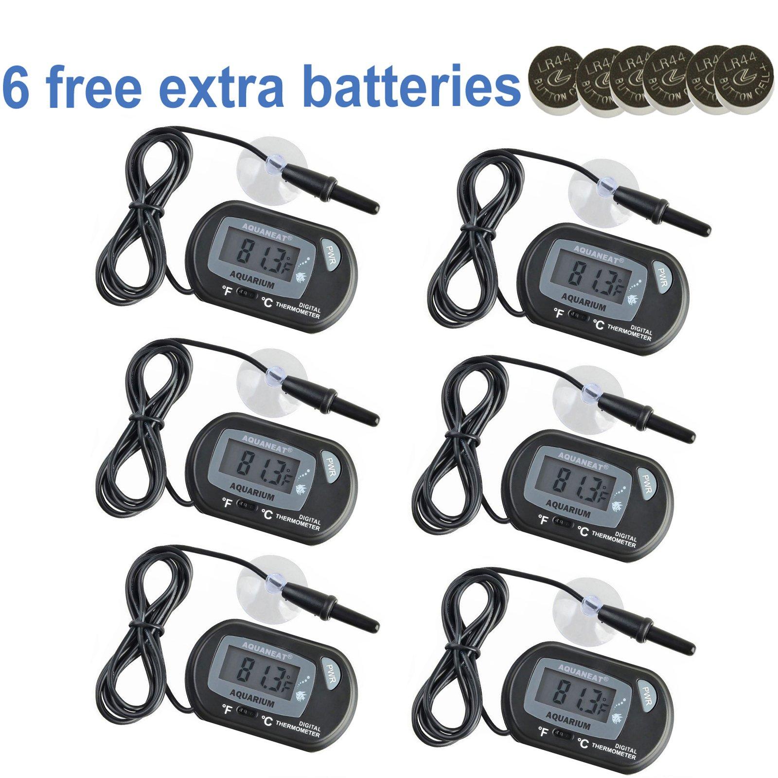 Aquaneat Aquarium Digital Thermometer Fish Tank Water Terrarium Reptile Free Extra Batteries (6 Pack)