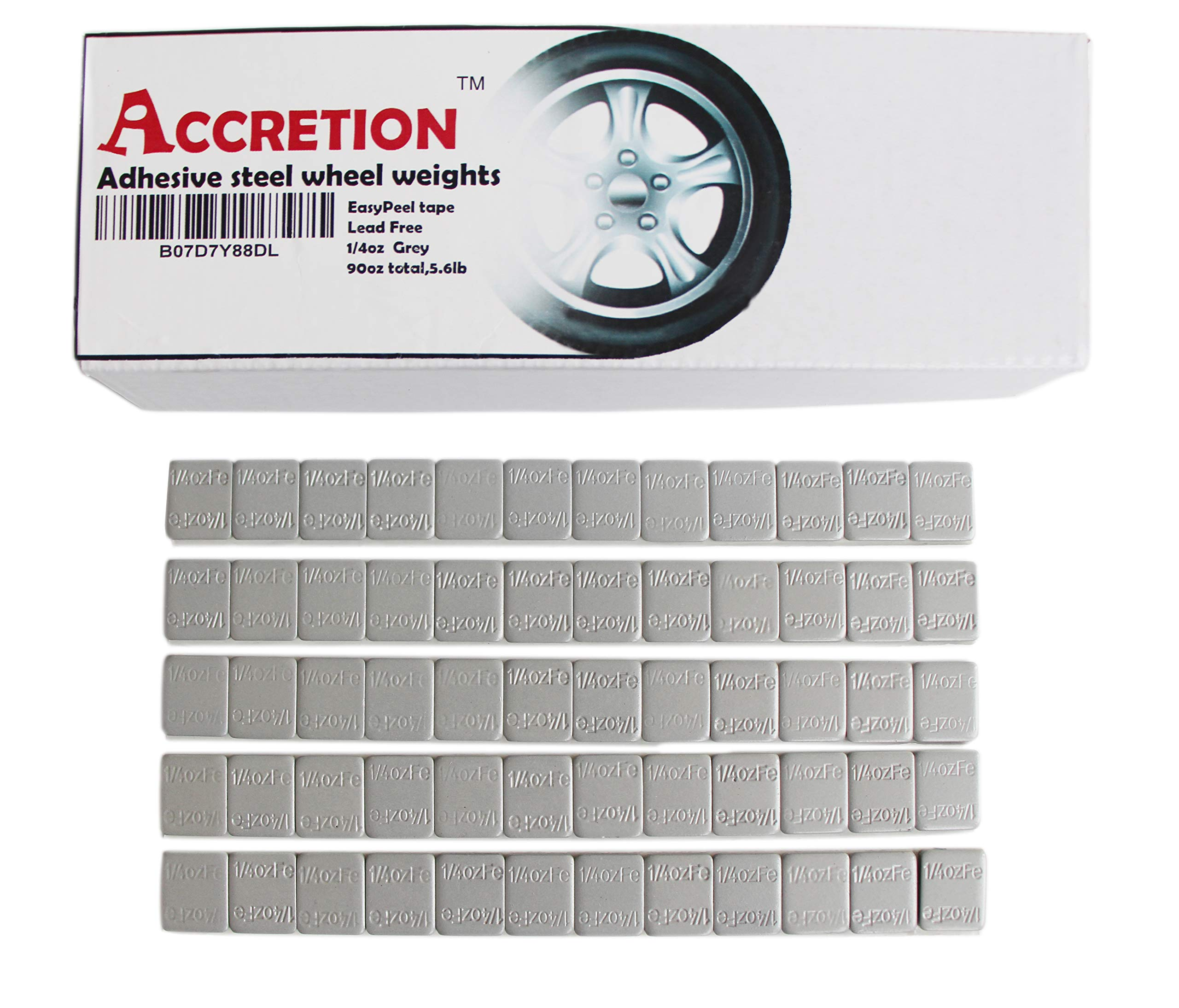 Accretion 1/4 Oz, 0.25 Oz, Grey, Wheel Weights (Lead Free), Duraco Dubl Kote Tape -2 mm Wide. Easy to Peel. Low Profile, 90 Oz Total, 3 Oz/Strips, 5.6 Lbs(360 Pcs) by Accretion
