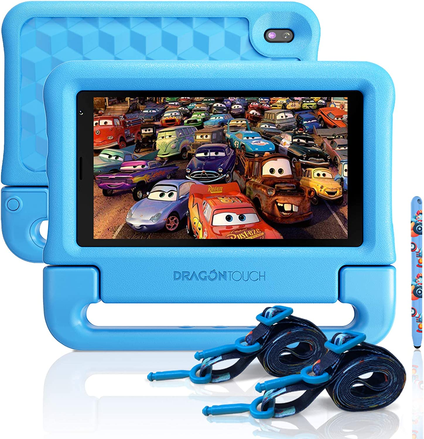 """Dragon Touch KidzPad Y88X 7 Kids Tablet with WiFi, Android 10, 7"""" IPS HD Display, 32GB ROM, KIDOZ Pre-Installed, with Disney Authorized Contents, Kid-Proof Case, Shoulder Strap and Stylus, Blue"""
