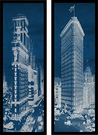 Amazon buyartforless framed set flat iron 1909 times buyartforless framed quot set flat iron 1909 times square postcard blueprint panelquot art malvernweather Image collections