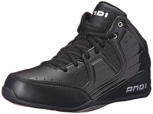 AND 1 Men's Rocket 4.0 Basketball Shoe, Black/Black-Silver, 9.5 M