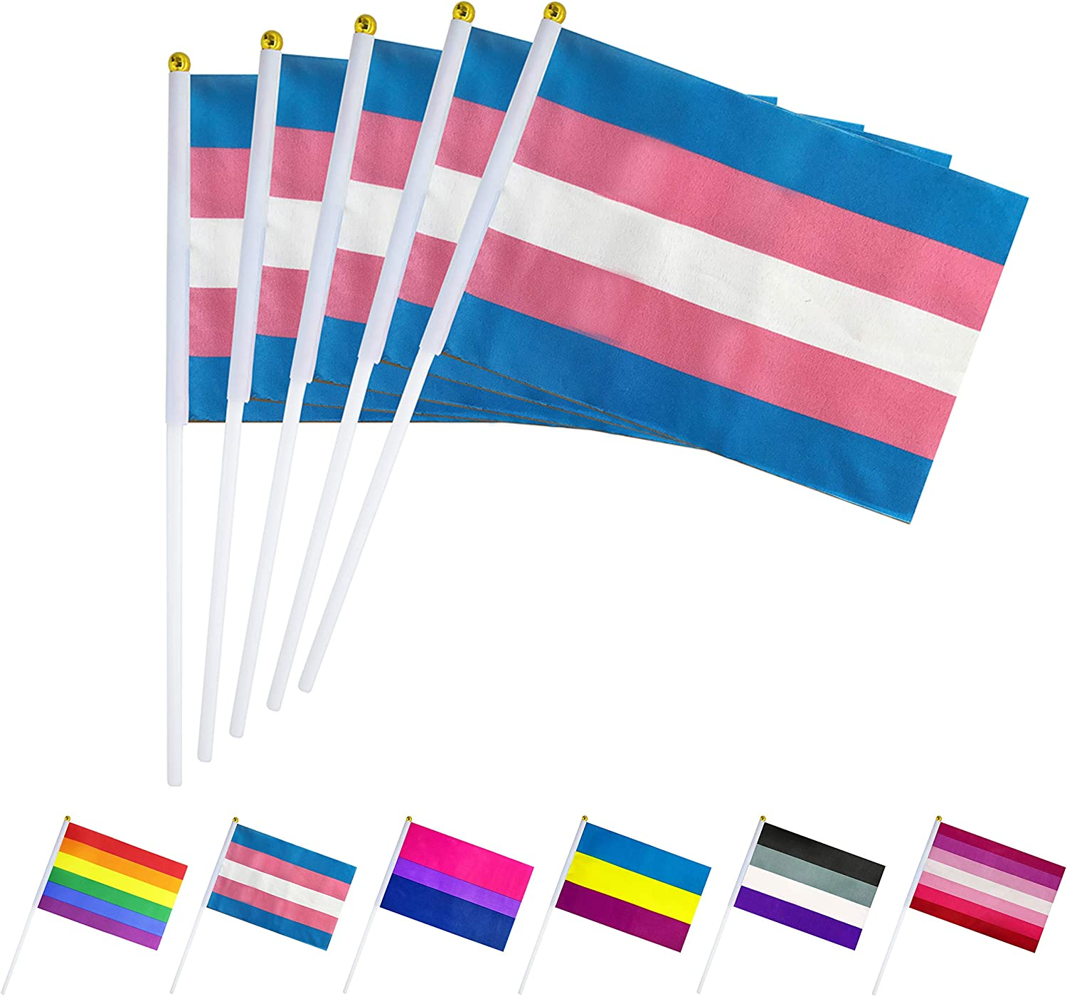 Lovevc 50 Pack Small Mini Transgender Trans Pride Flag Lgbt Rainbow Stick Flags Banner Transgender Rainbow Pride Party Decorations Supplies Amazon Co Uk Garden Outdoors