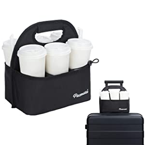 PACMAXI Drinks Carrier for Luggage, Drink Holder with Removable Dividers, Reusable Drink Carrier for Delivery, Traveling, Office, Picnic, Beach, BYOB Restaurant and Outdoor Activities (6 Cups, Black)