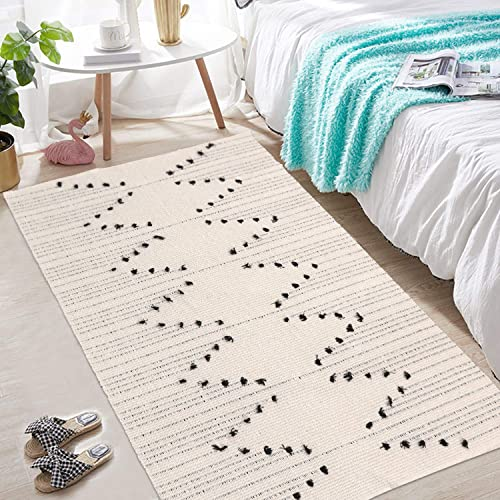 Moroccan Cotton Area Rug 3 x 5 , KIMODE Woven Fringe Throw Rugs Cream and Black Modern Geometric Collection Rugs Machine Washable Indoor Floor Runner Rug for Porch Kitchen Bedroom Living Room
