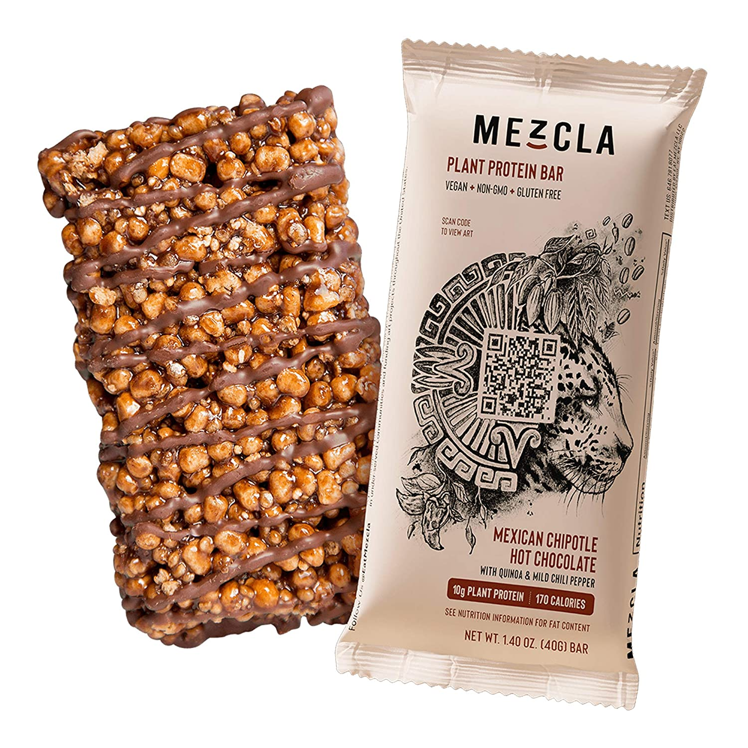 Mezcla Vegan Plant Protein Bars - Mexican Hot Chocolate: Premium Ingredients, Delicious Flavor, 10G of Protein, Gluten-Free, Non-GMO, Soy Free [15-Pack]
