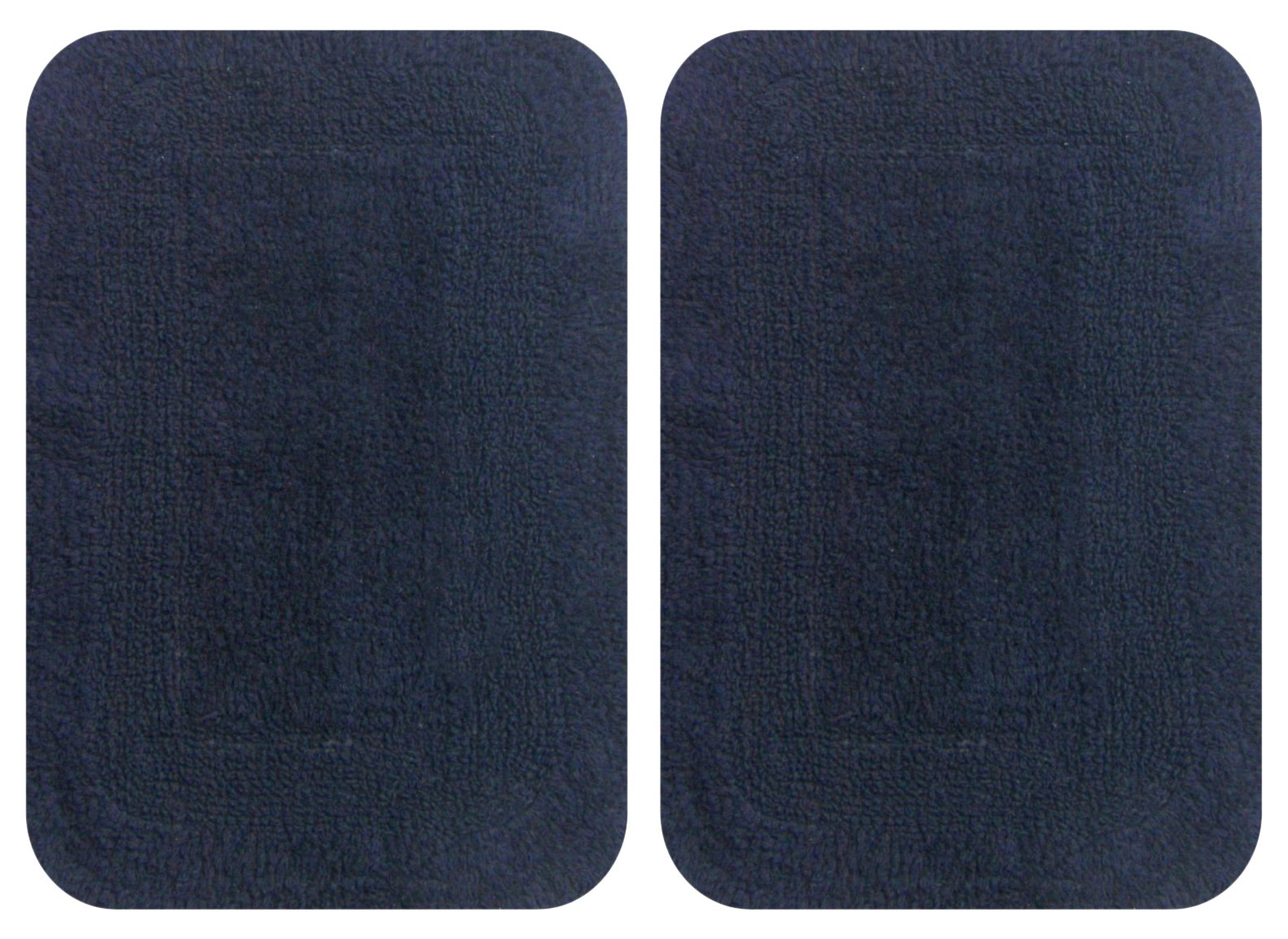 "Chardin Home 2 Piece Reversible Step Mat Set (17"" x 24"" & 17''x24''), Navy - Made with finest super soft cotton Wash separately in cold water, gentle cycle with mild detergent Add an accent of color to your bathroom décor with these stylish bath rugs - bathroom-linens, bathroom, bath-mats - 81HYLaq8muL -"