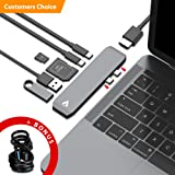 """AllinTech USB C Adapter Type-C Hub - Micro USB Type-C Cable Bundle Charger for 13"""" 15"""" MacBook Pro 2016 2017 Thunderbolt 3 40Gbs with 4K HDMI - 2 USB-C - 2 USB 3.0 - SD/Micro Card Reader Ports"""