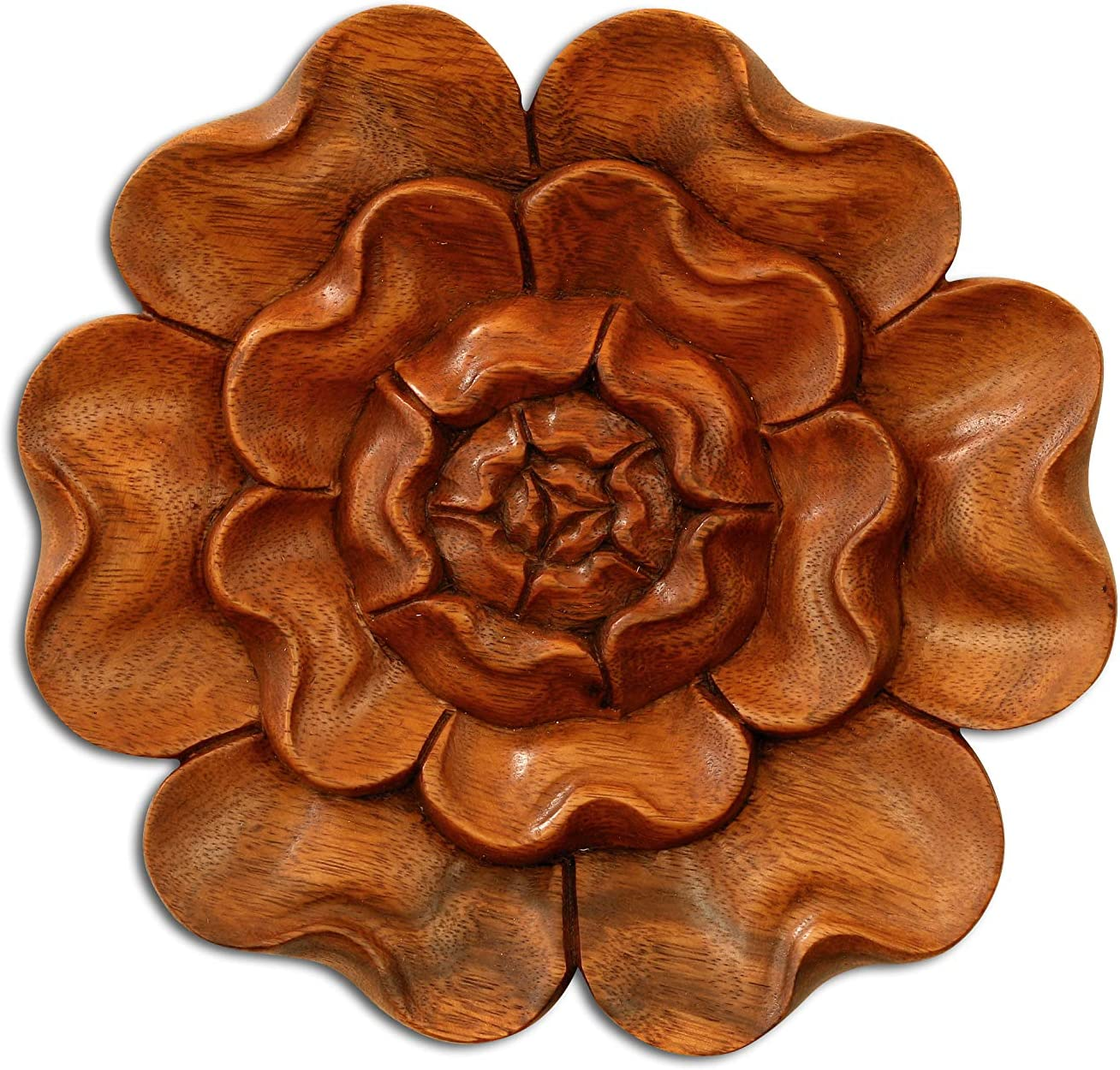 G6 COLLECTION Wooden Hand Carved Wall Art Relief Panel Handcrafted Wall Plaque Gift Decorative Home Decor Accent Handmade Wood Hang Decoration Rustic Hanging Artwork Floral (Lotus Flower)