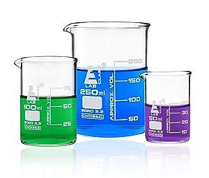 Premium Beaker Set, 250ml, 100ml & 50ml - Low Form, White Graduations - Superior Durability & Chemical Resistance - Borosilicate 3.3 Glass - Eisco Labs