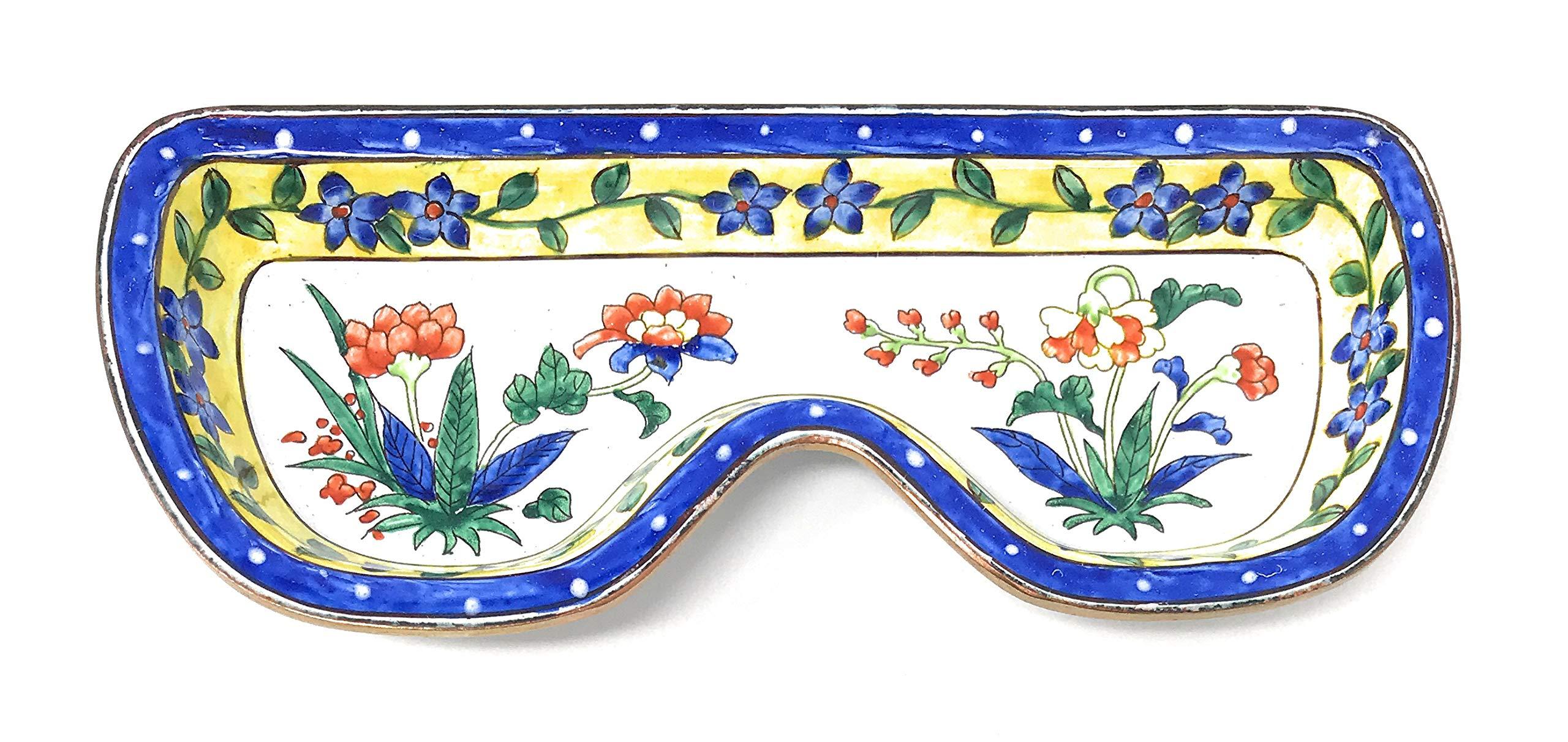Kelvin Chen Floral Pattern, Eyeglass Tray, Enameled Holder, 6.5 Inches Long