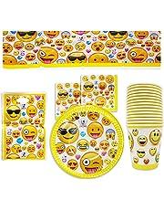 76-Piezas Vajilla Emoji Emoticonos para Cumpleaños, 15 Personas - Platos, Vasos,