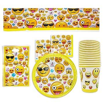 76-Piezas Vajilla Emoji Emoticonos para Cumpleaños, 15 Personas - Platos, Vasos, Manteles, Servilletas y Bolsas para Fiestas - Accesorios de Fiesta ...