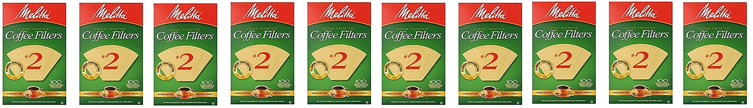 Cone Coffee Filter #2 - Natural Brown 100 Count (2 Pack) (Pack of 5) by Melitta