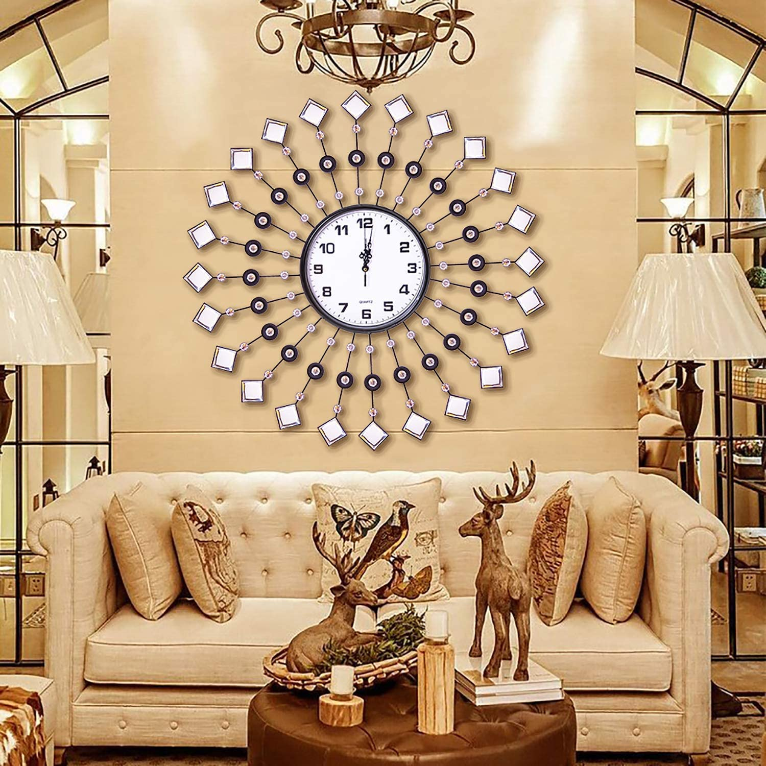 Amazon Com Ahua Modern Metal Crystal Wall Clock Luxury Diamond Morden Large Wall Clock Design Home Decor Decorative Clock For Living Room Bedroom Office Space Crystal Home Kitchen