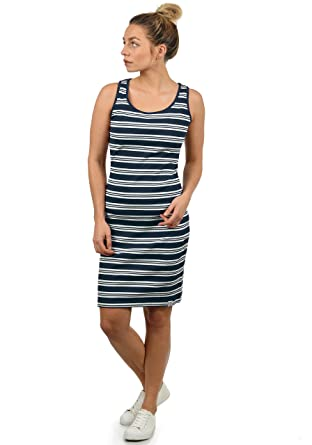 DESIRES Rahile Damen Kleid Sommerkleid Dress in Streifen-Optik mit Rundhals-Ausschnitt aus 100% Baumwolle