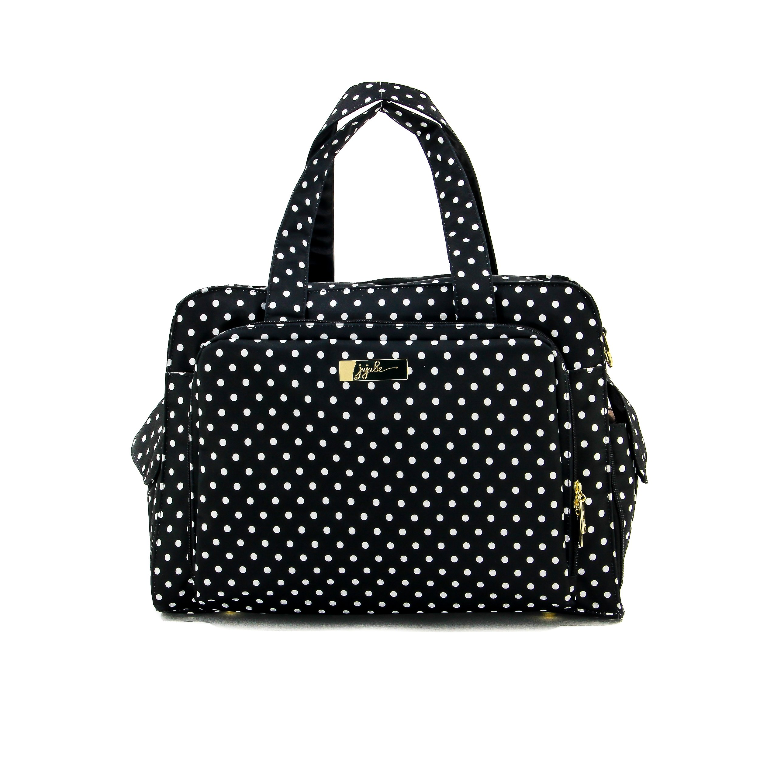 JuJuBe Be Prepared Travel Carry-on/Diaper Bag, Legacy Collection - The Duchess - Black with White Polka Dots