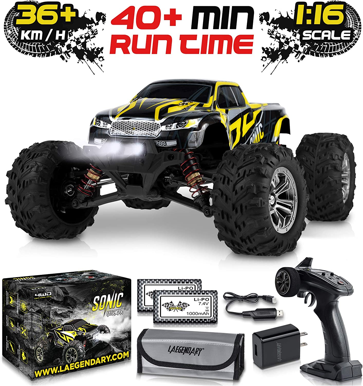 1:16 Scale Large RC Cars 36+ kmh Speed - Boys Remote Control Car 4x4 Off Road Monster Truck Electric - All Terrain Waterproof Toys Trucks for Kids and Adults - 2 Batteries + Connector for 35+ Min Play