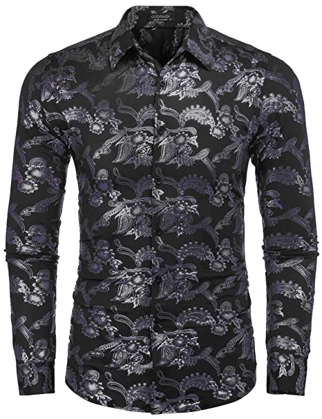 Vintage Shirts – Mens – Retro Shirts COOFANDY Mens Paisley Shirt Luxury Design Long Sleeve Casual Button Down Shirts $28.99 AT vintagedancer.com