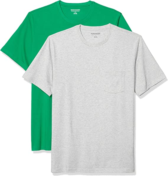 TALLA XS. Amazon Essentials Pack de 2 Camisetas Ajustadas con Bolsillo Y Cuello Redondo Fashion-t-Shirts Hombre (Pack de 2)