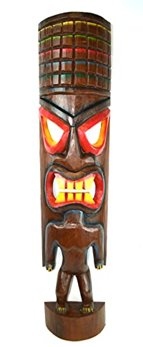 Hand Carved Beautiful 3 Ft Warrior Tiki Totem Pole Mask Statue