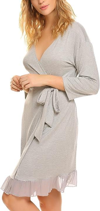 Ekouaer Mujer Batas Kimono Algodón Camisón Encaje Pijama Ropa de Dormir Noche(Gris XL): Amazon.es: Ropa y accesorios