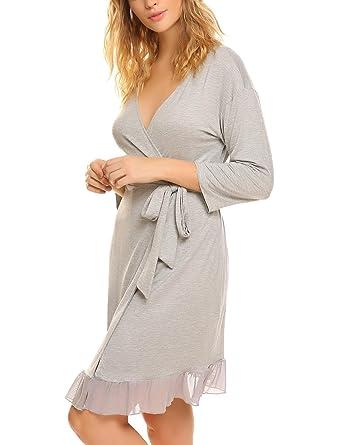 Ekouaer Mujer Batas Kimono Algodón Camisón Encaje Pijama Ropa de Dormir Noche(Gris XL)