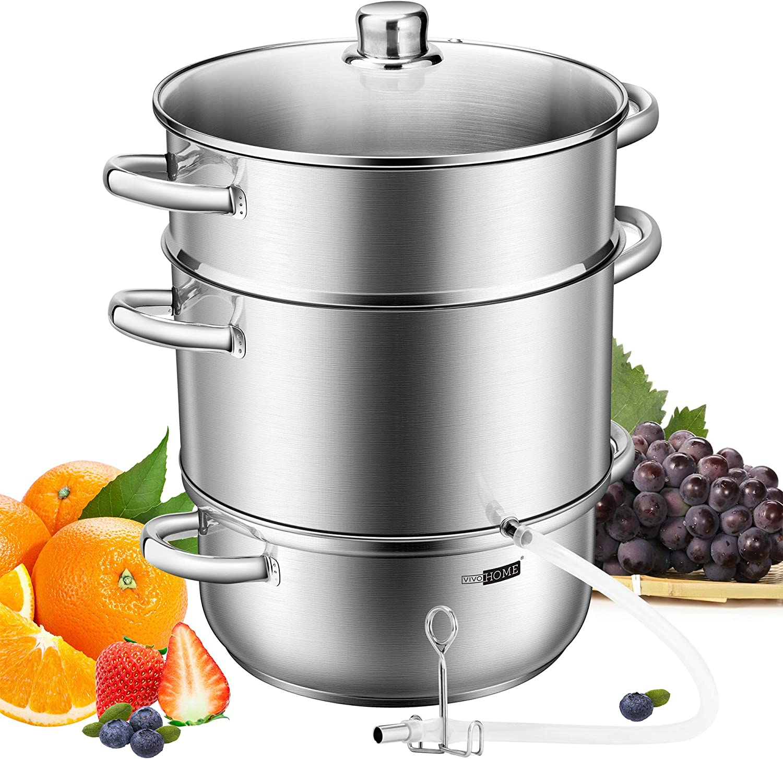 VIVOHOME 24cm 8.5Qt Stainless Steel Juice Steamer Extractor Fruit Vegetables Juicer Steamer Pot with Tempered Glass Lid, Hose, Clamp, Loop Handles