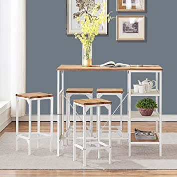 Amazon Com O K Furniture Small 5 Piece Dining Room Bar Table Set Modern Industrial Bistro Restaurant And Stool Home Kitchen Oak Finish Chair Sets