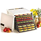 Excalibur 3900W 9-Tray Electric Food Dehydrator with Adjustable Thermostat Accurate Temperature Control Faster and Efficient Drying Includes Guide to Dehydration Made in USA, 9-Tray, White