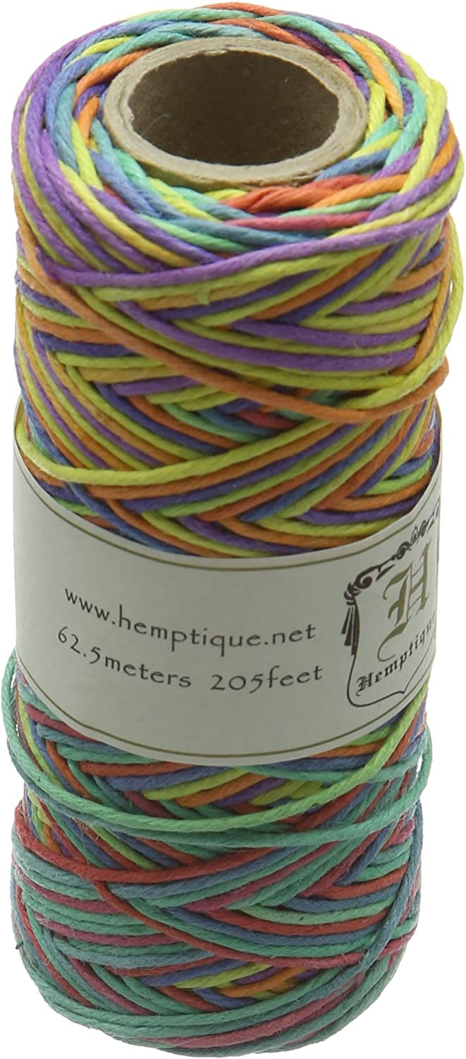 Hemptique 100% Hemp Cord Spool - 62.5 Meter Hemp String - Made with Love - No. 20 ~ 1mm Cord Thread for Jewelry Making, Macrame, Scrapbooking, DIY, & More - Variegated Rainbow