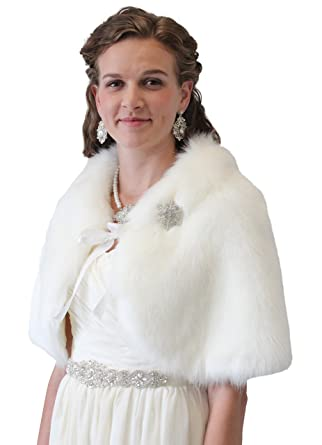 886af4ee8 Tion Design ® Bridal Fur Cape, Ivory Fur Wedding Cape, Fur Shrug at Amazon  Women's Coats Shop