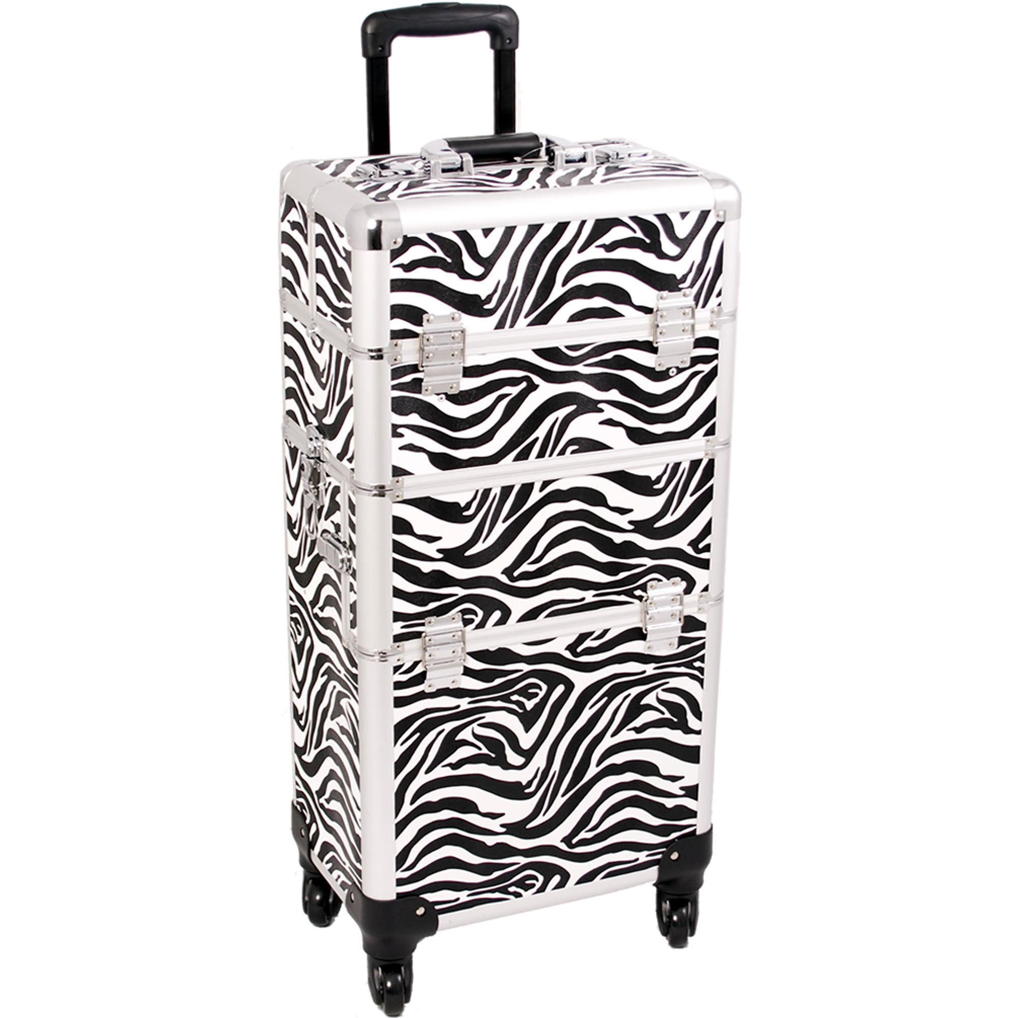 SUNRISE Makeup Case on Wheels I3261 2 in 1 Hair Stylist Organizer, 4 Wheel Spinner, 3 Trays and 1 Removable Tray, Locking with Mirror and Shoulder Strap, White Zebra by SunRise