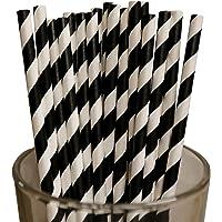 Sakasu 130x Papierstrohhalme, schwarz-weiß gestreift, Biologisch abbaubar