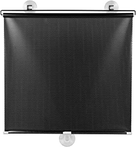 VOSAREA Free-Perforated Balcony Suction Cup Sunshade Blackout Curtain Temporary Blinds Versatile Anywhere Portable Lightweight Drape for Door (Black Mesh Dot)