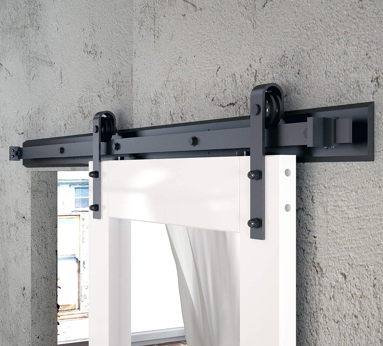 Rustic Black DIYHD 8FT Ceiling Mount Bent Straight Roller Barn Wood Closet Interior Door Sliding Track Hardware Kit