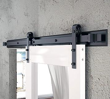 DIYHD Top Mount Rustic Black Barn Closet Interior Door Sliding Track Hardware
