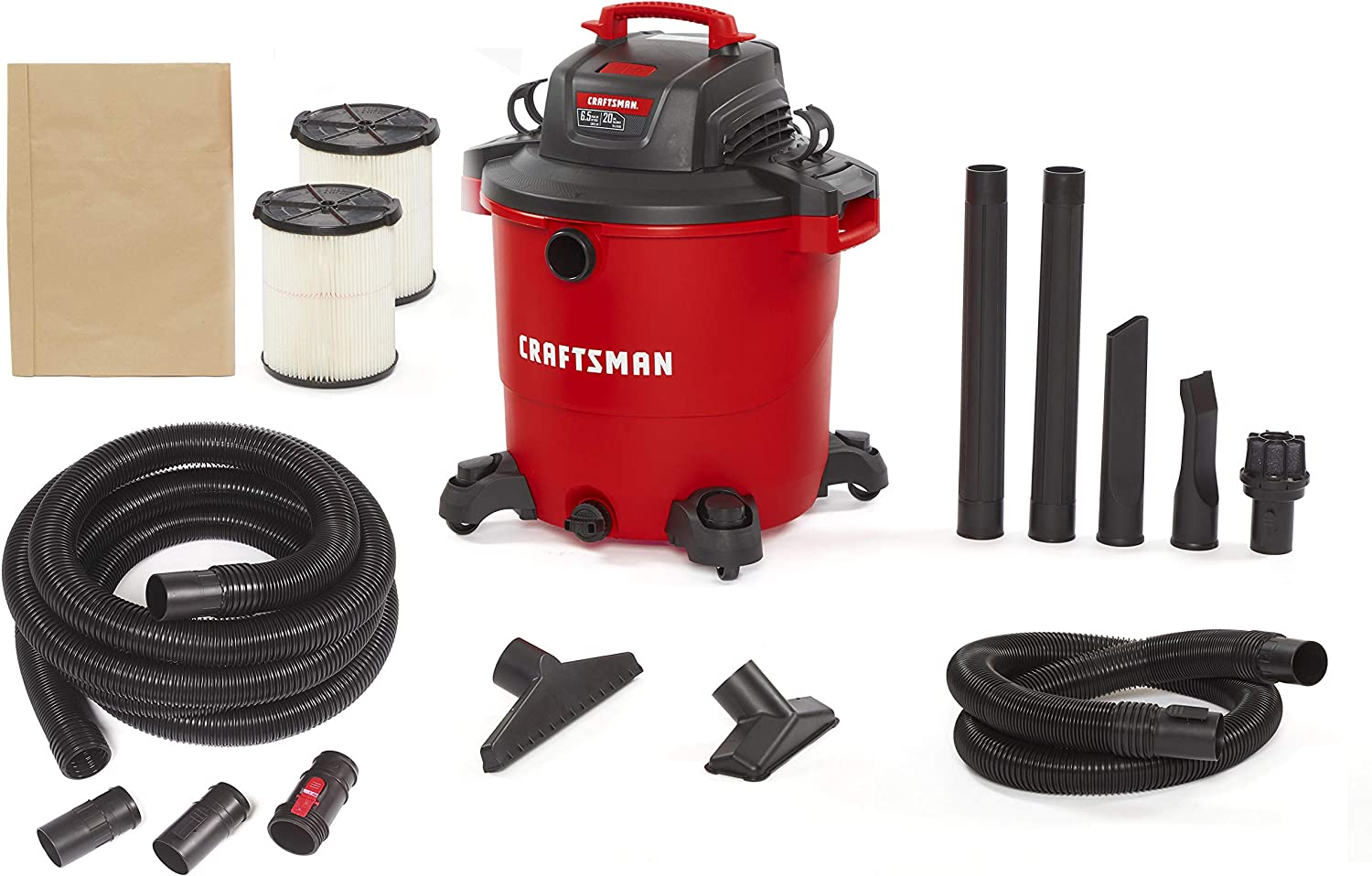 CRAFTSMAN CMXEVBE17596 20 Gallon 6.5 Peak HP Wet/Dry Vac, Heavy-Duty Shop Vacuum with 20-Foot Hose Kit and General Purpose Filter