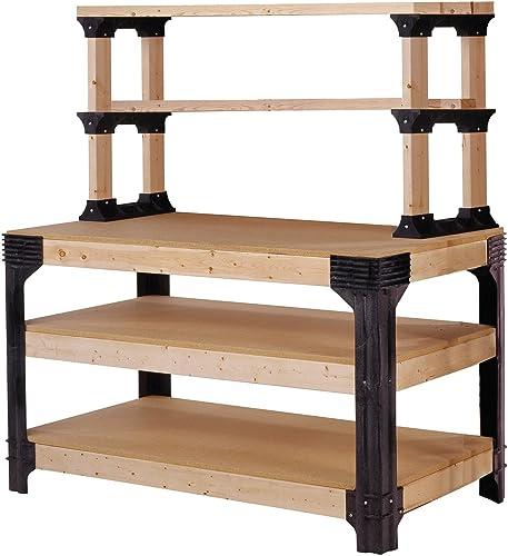 2x4basics 90164 Custom Work Bench and Shelving Storage System