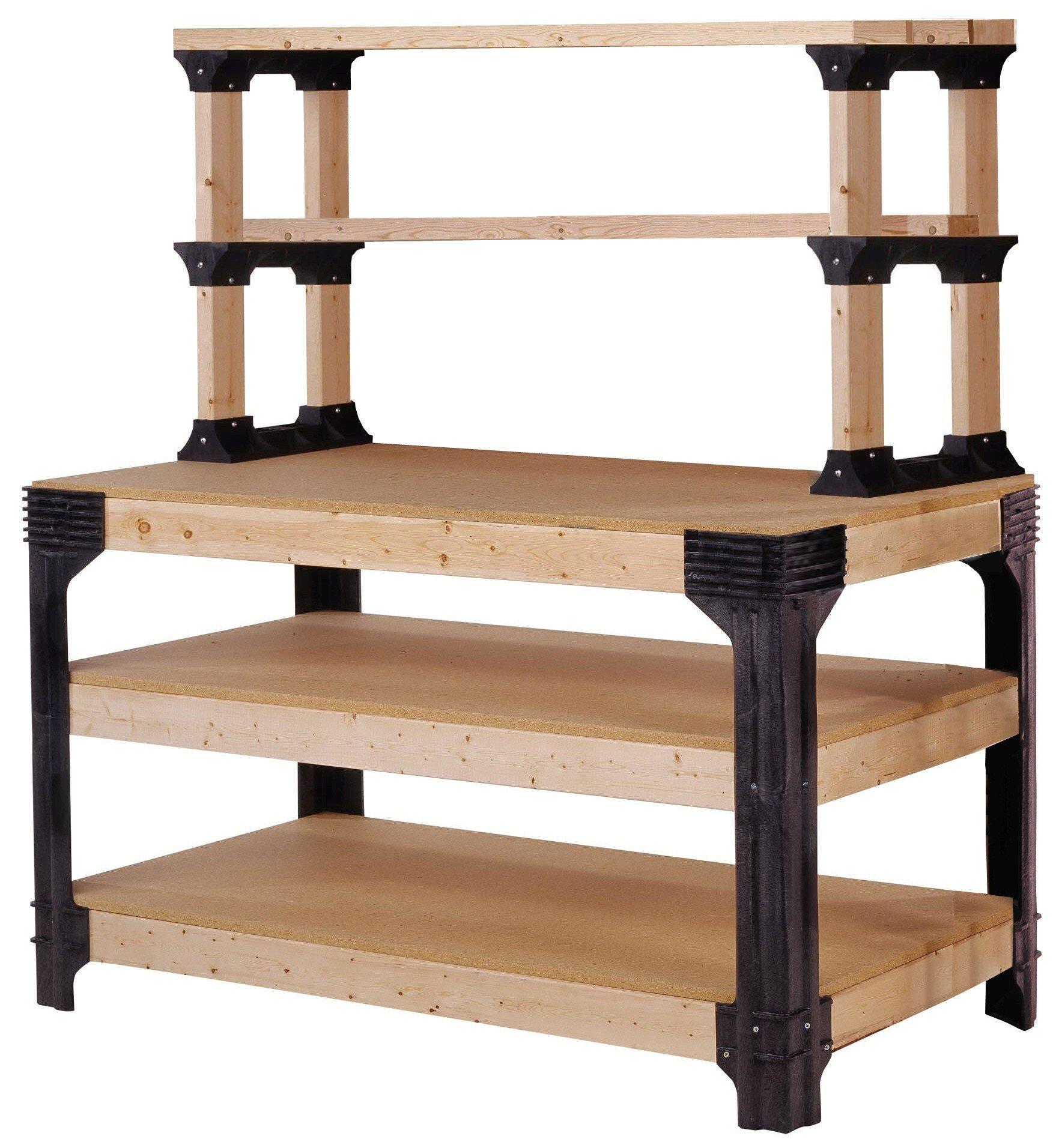 2x4basics 90164 Custom Work Bench and Shelving Storage System, Black by 2x4 basics