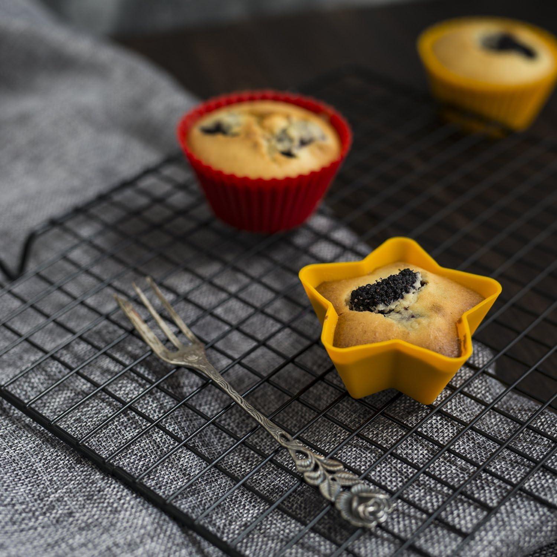 beicemania 12 pirottini Muffin Silicone pirottini Cupcake Stampo Muffin teglia Muffin Stelle Giallo Gift Pack