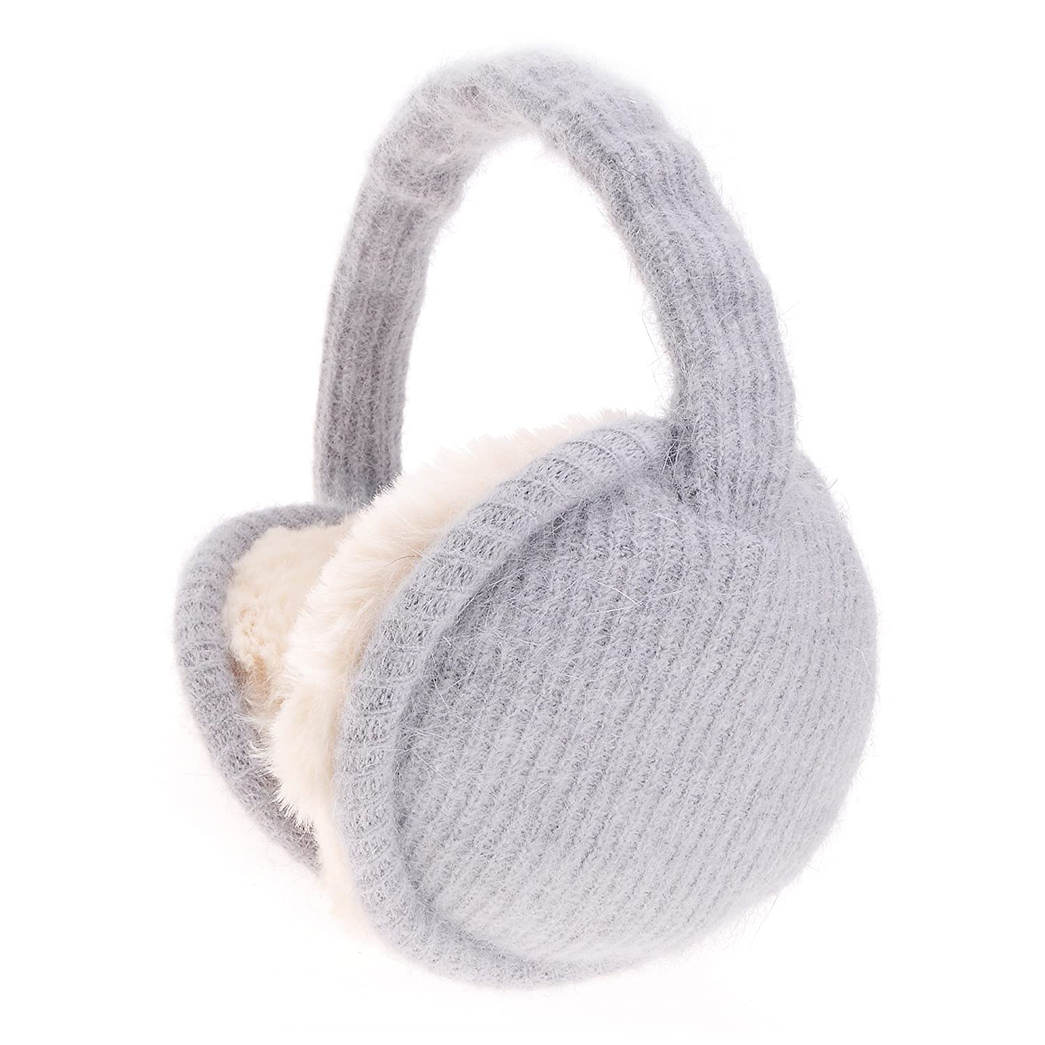 ZLYC Womens Girls Winter Warm Adjustable Knitted Ear Warmers Foldable Earmuffs, Beige ZYJ-ET-017-BG