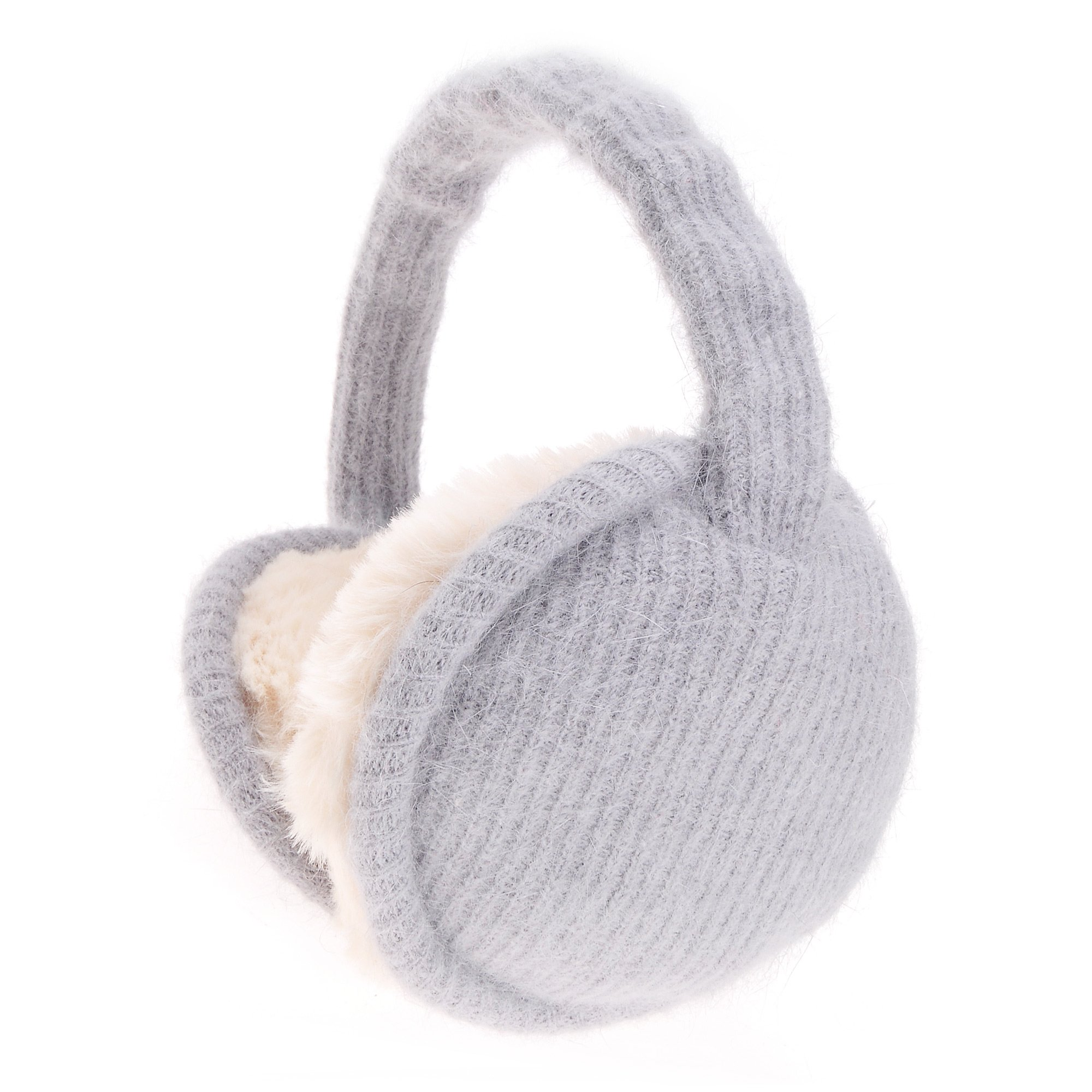 ZLYC Womens Girls Winter Warm Adjustble Knitted Ear Warmers Foldable Earmuffs, Gray Grey