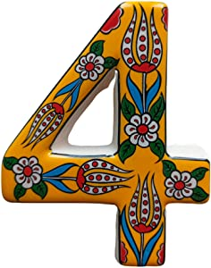 Ayennur Aparment Number 4-0-9/4.7 inch Adress Number with Sticker for Mailbox-Office-Doors-House-Floor-Gate-Plate-Walls Decorative Handpainted Turkish Desing Ceramic Plaque (Yellow 4)