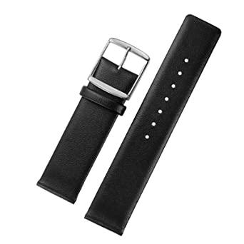 6a0bd9a90724 20mm Luxury Watch Straps Black Calfskin Leather Flat Design with ...