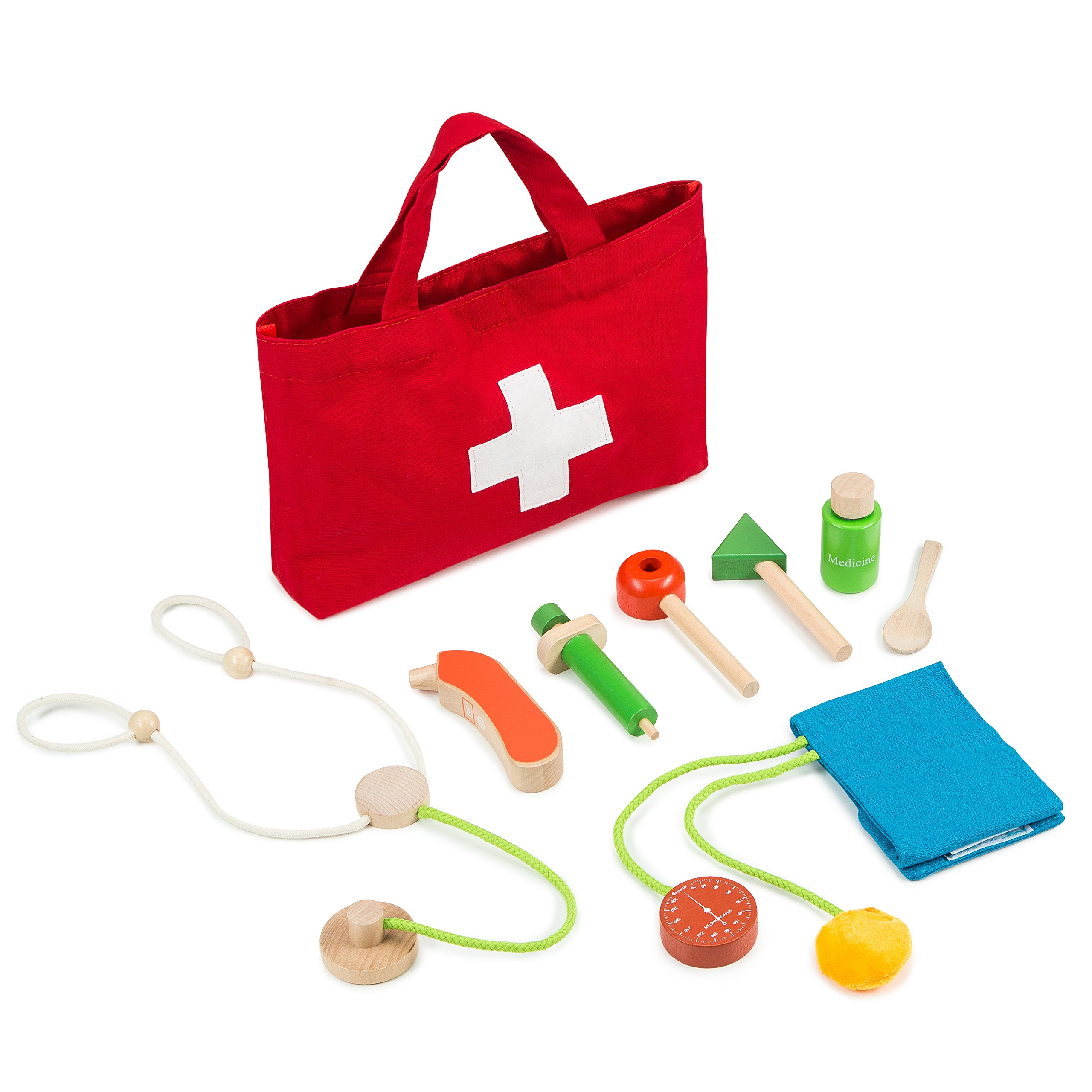 Kiddie Lark Wooden Toy Doctor Kit For Kids By Pretend Medical Play Set For Boys & Girls   Learning & Educational Role Play Set For Children & Older Toddlers   Safe & Certified Wood Pieces